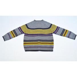 Cardigan tricot rayé 100% coton