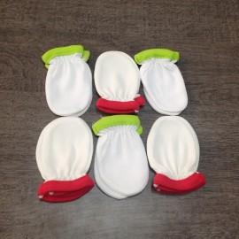 6 paires de gants Bords Vert/Fushia pur coton anti griffures