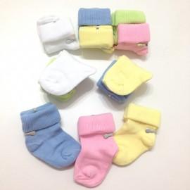 12 chaussettes naissance couleurs pur coton