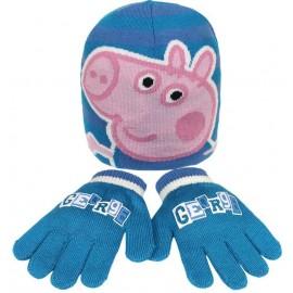 Ensemble bonnet et gants bleu George Pig