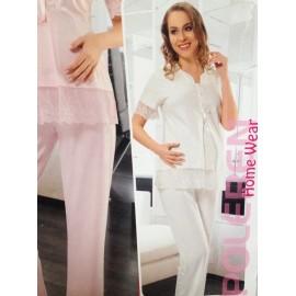 Pyjama coton 2 pièces + bandeau grossesse et allaitement