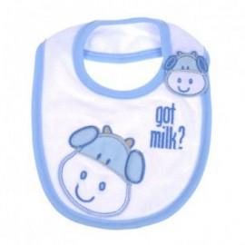 Bavoir bébé pur coton Bleu