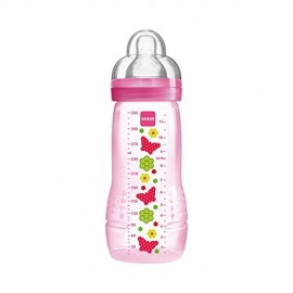 Mam - Biberon 2ème âge 330 ml - Rose - Easy Active