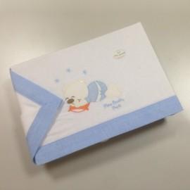 Set 3 pièces Pierre Cardin Hiver Bleu : Drap, housse et taie d'oreiller pour lit bébé