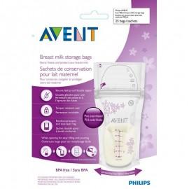 Avent 25 Sachets de conservation du lait maternel 180ml