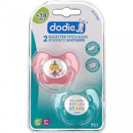 """Dodie 2 Sucettes +18 mois """"FILLE"""" silicone avec anneau"""