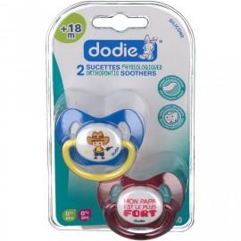 """Dodie 2 Sucettes +18 mois """"GARCON"""" silicone avec anneau"""