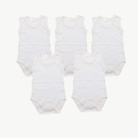Lot de 5 bodies débardeur couleur crème coton