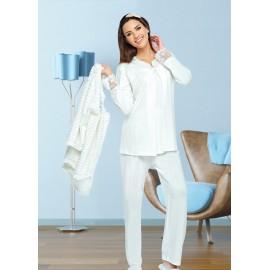 Pyjama 3 pièces Rose grossesse et allaitement