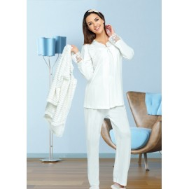 Pyjama 3 pièces Blanc grossesse et allaitement