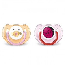 AVENT 2 Sucettes orthodontiques animaux, 6-18mois, Rose, Otarie et Coccinelle