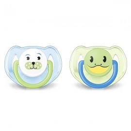 AVENT 2 Sucettes orthodontiques animaux, 6-18mois, Bleu, Phoque et Tortue