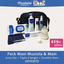 Pack Maxi Naissance Mustela 5 produits + Biberon Mam + Sac à langer et Sucette offerts