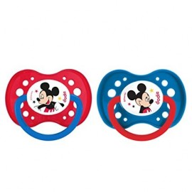 """Dodie 2 Sucettes +18 mois """"Mickey"""" silicone avec anneau"""