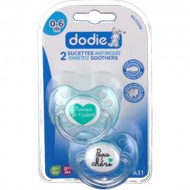 "Dodie 2 Sucettes 0-6M silicone avec anneau - ""Maman Papa Chéri"""
