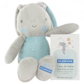 Klorane L'eau de bébé 50ml et son doudou lapin Bleu