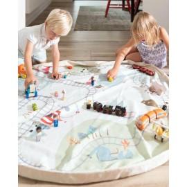 Play&Go Tapis de Jeu et sac à jouets Train