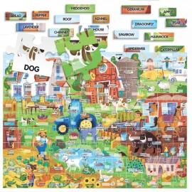 Puzzle anglais facile 100 mots la ferme 4-8 ans - Headu