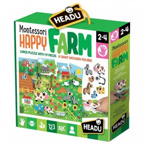 Puzzle Montessori Happy la ferme 2-4 ans - Headu