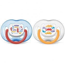 AVENT 2 Sucettes Orthodontiques Aérées, 6-18mois, Voitures
