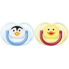 AVENT 2 Sucettes orthodontiques animaux, 0-6mois, Pingouin et canard