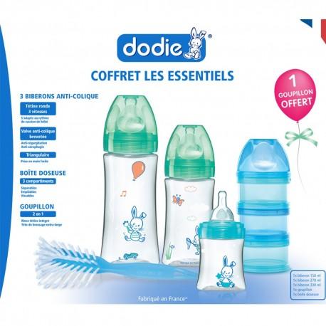 Dodie Coffret Les Essentiels x3 biberons anti colique (1x150ml + 1x270ml + 1x330ml) + 1 goupillon + 1 boîte doseuse