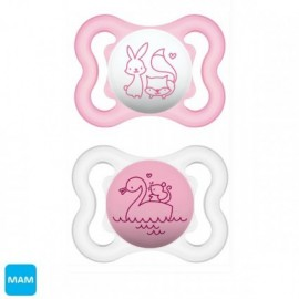 Mam - 2 sucettes (0-6mois) silicone Air Rose
