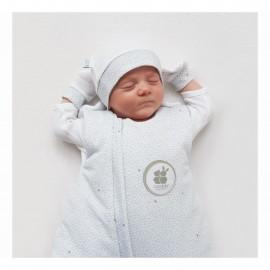 Bonnet et moufles naissance pois