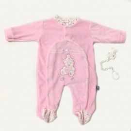 Grenouillère velours ourson rose + attache sucette