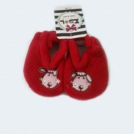 Pantoufles chaussons tout doux rouges 0-12 Mois