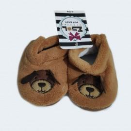 Pantoufles chaussons tout doux marrons 0-12 Mois