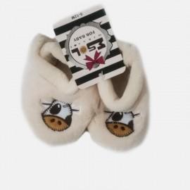 Pantoufles chaussons tout doux blanc cassé 0-12 Mois