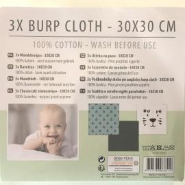 3 mini serviettes pures coton