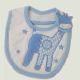 Bavoir bébé pur coton Girafe Bleu