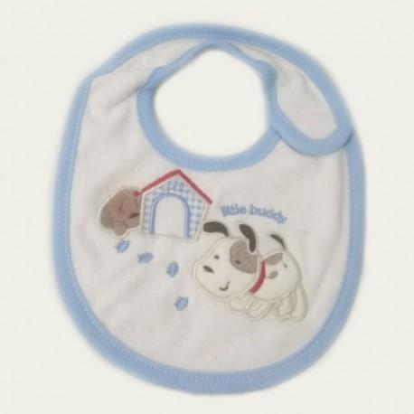 Bavoir bébé pur coton Petit Chien Bleu
