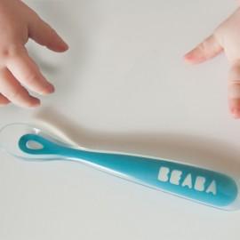BEABA - Cuillère 1er âge silicone bleue - 4mois et plus