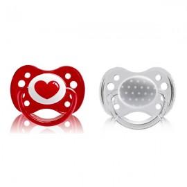 """Dodie 2 Sucettes +6 mois silicone avec anneau - """"coeur"""""""