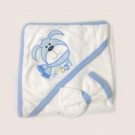 Cape de bain et gant 100% coton Bleu