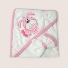 Cape de bain et gant 100% coton rose