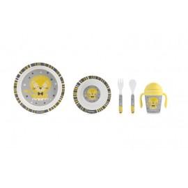 Kit vaisselle Lion en bambou 5 pièces - Miniland