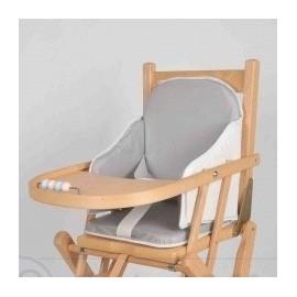 Coussin de chaise PVC bordé Gris/Blanc