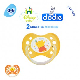"Dodie 2 Sucettes 0-6 mois ""Winnie"" silicone avec anneau"