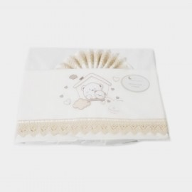 Set 3 pièces dentelle : Drap, housse et taie d'oreiller pour lit bébé