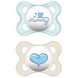 Mam - 2 sucettes Love Mummy Bleu (0-6mois)