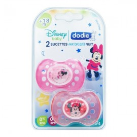 "Dodie 2 Sucettes +18 mois ""Minnie"" silicone anatomiques nuit"
