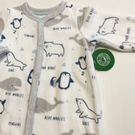 Grenouillère en coton Bio éponge motif petits pingouins