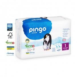 Couches Écologiques Taille 1 (2-5kg) 27unités Pingo