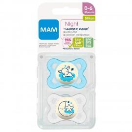 Mam - 2 sucettes silicone Bleu (0-6mois)