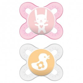 Mam - 2 sucettes silicone Start Rose (0-2mois)
