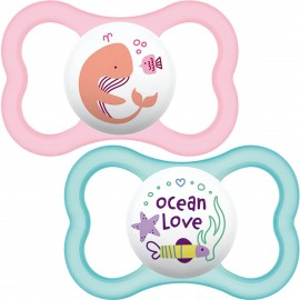 Mam - 2 sucettes silicone Air Rose (0-6mois)